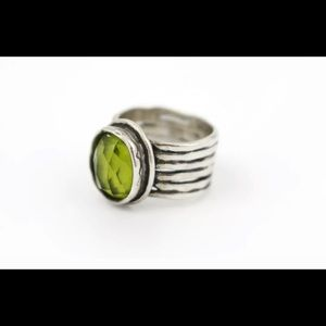 Silpada sterling silver ring with green stone.